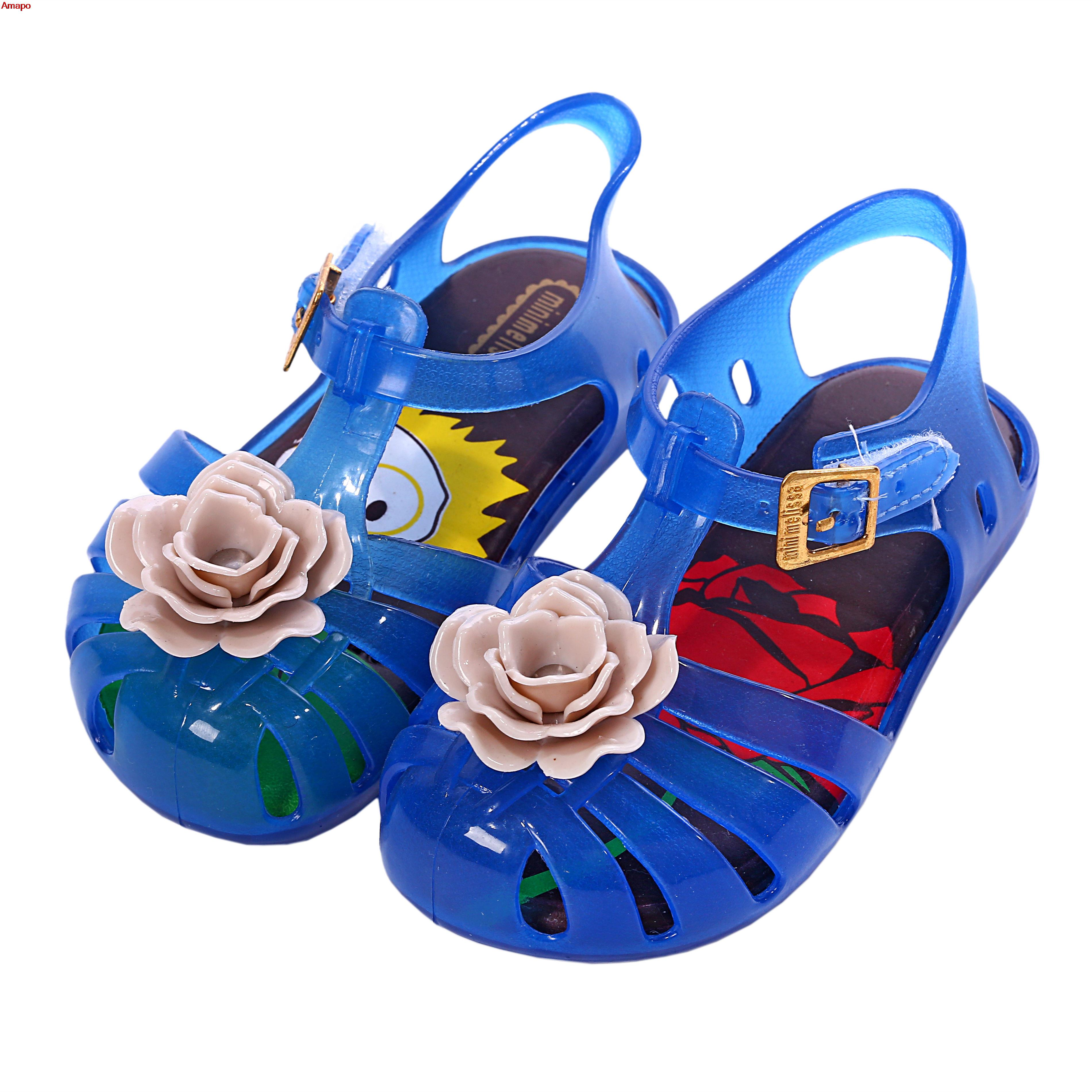 Mini Melissa 2016 new Girls Sandals rose flower style baby shoes Jelly print insole PVS Shoe 4 color choices Size 6-11(China (Mainland))