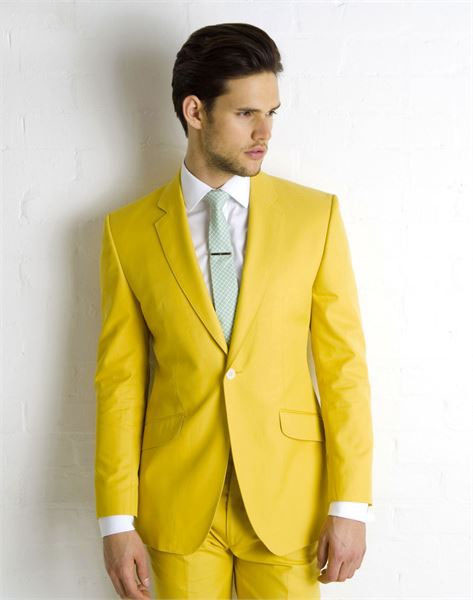Gorgeous Yellow Wedding Evening Suits One Button Groom Tuxedos Bestman Men's Bridegroom Formal Dresses(Jacket+Pants)