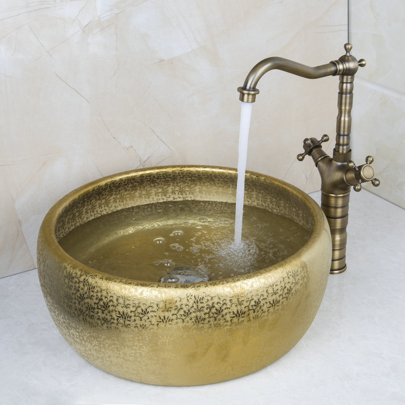 Aliexpress.com : Buy Round Paint Golden Bowl Sinks / Vessel Basins ...