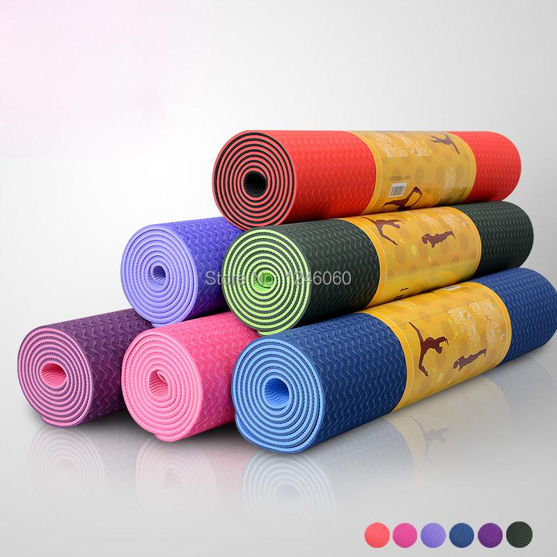 Genuine TPE 6mm thick 183cm*61cm Yoga Mat Yoga Fitness Mat,Good Quality Yoga Pad Yoga Blanket Anti skid Wholesale(China (Mainland))