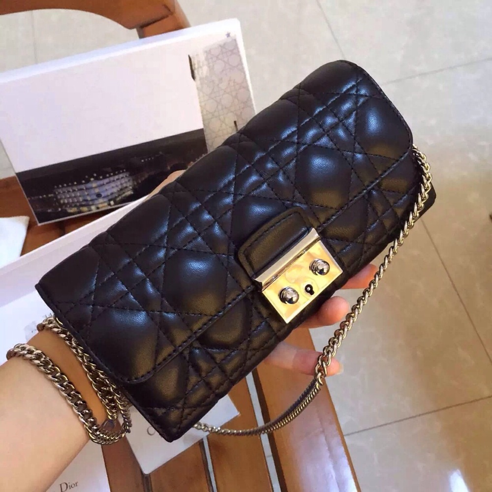 Women Black 100% Sheepskin 5 grid /Plaid chain Day Clutches lady  leather wallet brand Evening bag <br><br>Aliexpress