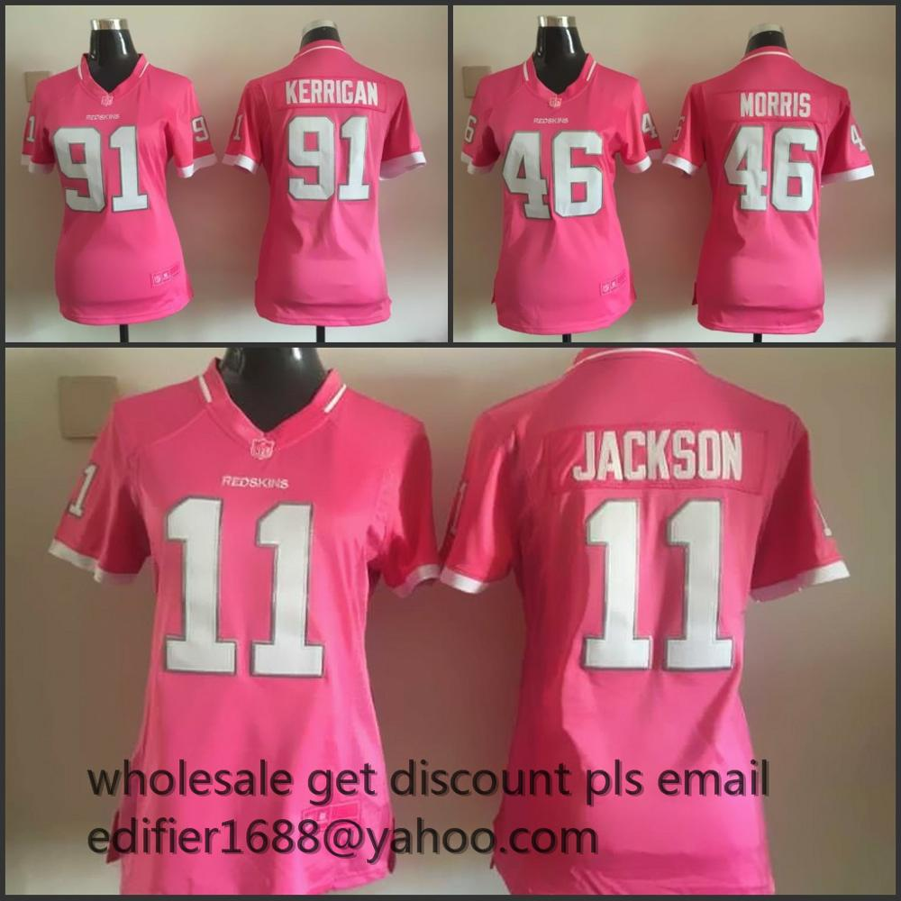 100% stitch women pink love Washington Redskins ladies 10 Robert Griffin III 46 Alfred Morris 11 DeSean Jackson 91 Ryan Kerrigan(China (Mainland))