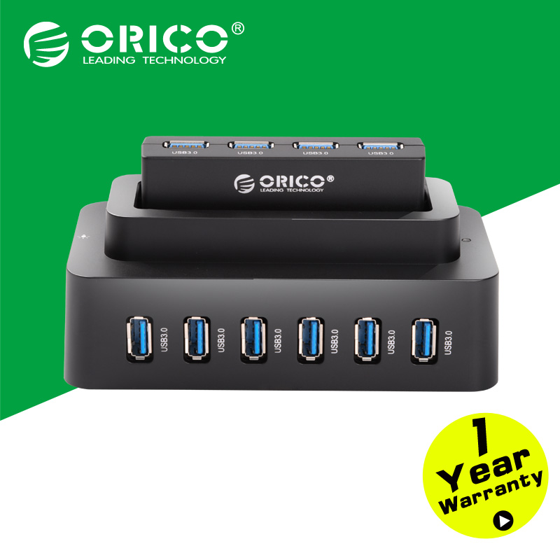ORICO H10D6-U3-BK Detachable 10 Ports 3.0 USB HUBS with 12V4A Power Adapter for Computer-Black