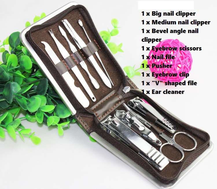 9Pcs/set Nail Tools Sets, 2015 Stainless Steel Kit Manicure Clippers&Trimmers /Pedicure Scissor Professional Gift Nail Tools Set(China (Mainland))