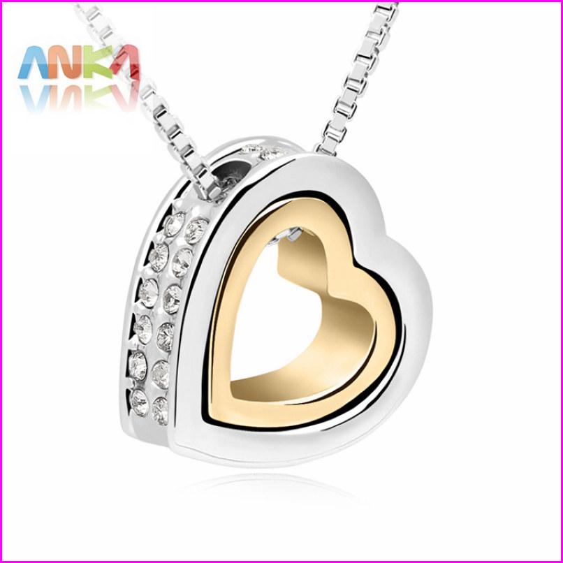 Гаджет  2014 18K  Gold +White Gold  Double Heart Crystal Pendant Necklace  #99263 None Ювелирные изделия и часы