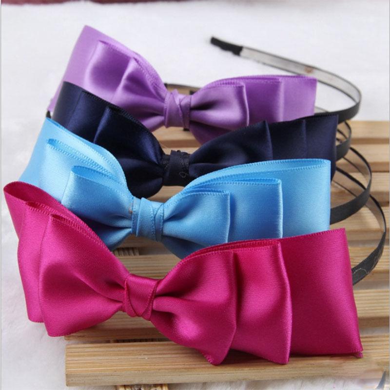 Hot 1Pc new Fashion 8 Colors Big Bowknot Ribbon Headband Bow Head Hair Band Accessories For Girls Ladies(China (Mainland))