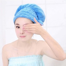4 Colors Lovely Romantic Bowknot Coral Vevet Strong Water Absorption Hair Dry Shower Bath Caps/Hats(China (Mainland))