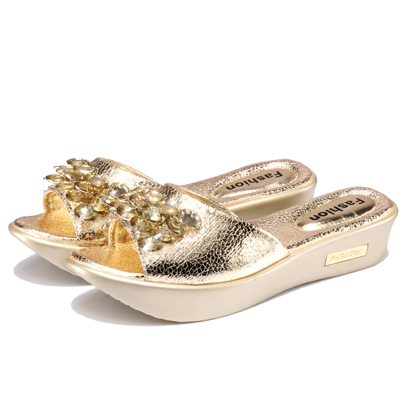 2015 Summer style Women Sandals Adult Bohemia Rhinestone Simple atmospheric Slippers shoes woman Massage - four season Fashion Store store
