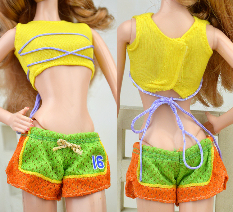 High + Shorts,New 2016 Yellow Set Go well with Bikini Beachwear Swimsuit Clothes Outfit Garments For Kurhn Barbie Doll Birthday Present