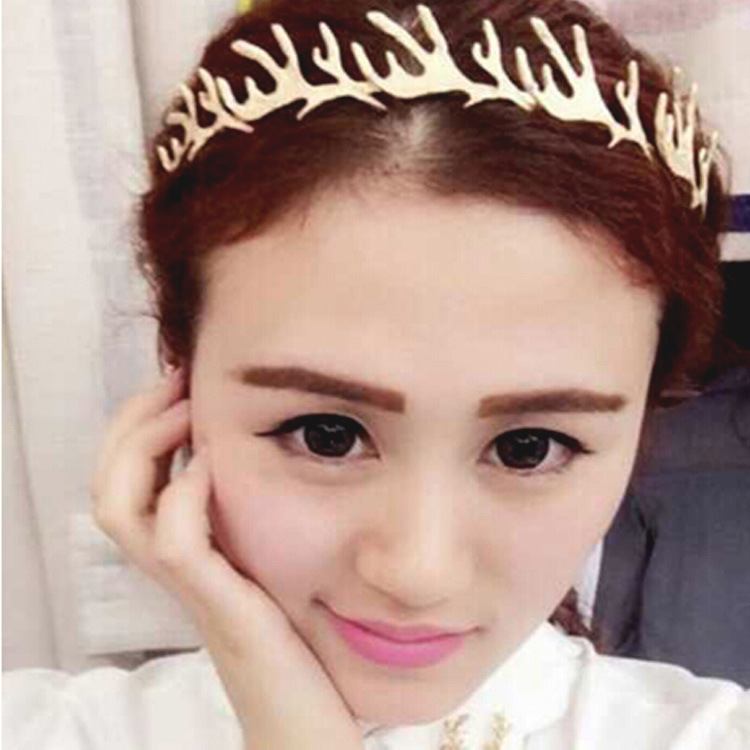 New Korea exaggerated golden antlers hair bands fashion metal headband women hair accessories wholesale(China (Mainland))