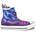 Wen Unisex Hand Painted Casual Shoes Custom Design Blue Pueple Galaxy Original High Top Men Women