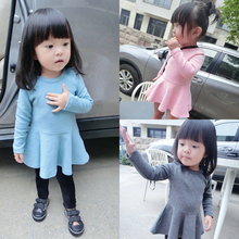 2015 New Brand High Quality Autumn Cotton Baby Girl Dress Child Wear Princess Dress Solid Dress For Kids Suitable 0-2Y Babies #V(China (Mainland))