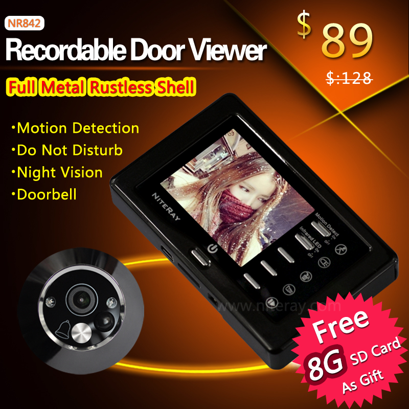 DHL EMS Free Ship!! Motion Detect Front Door Camera Video Peephole Door Viewer Door Bell Take Photo/Video With IR Night Vision(China (Mainland))
