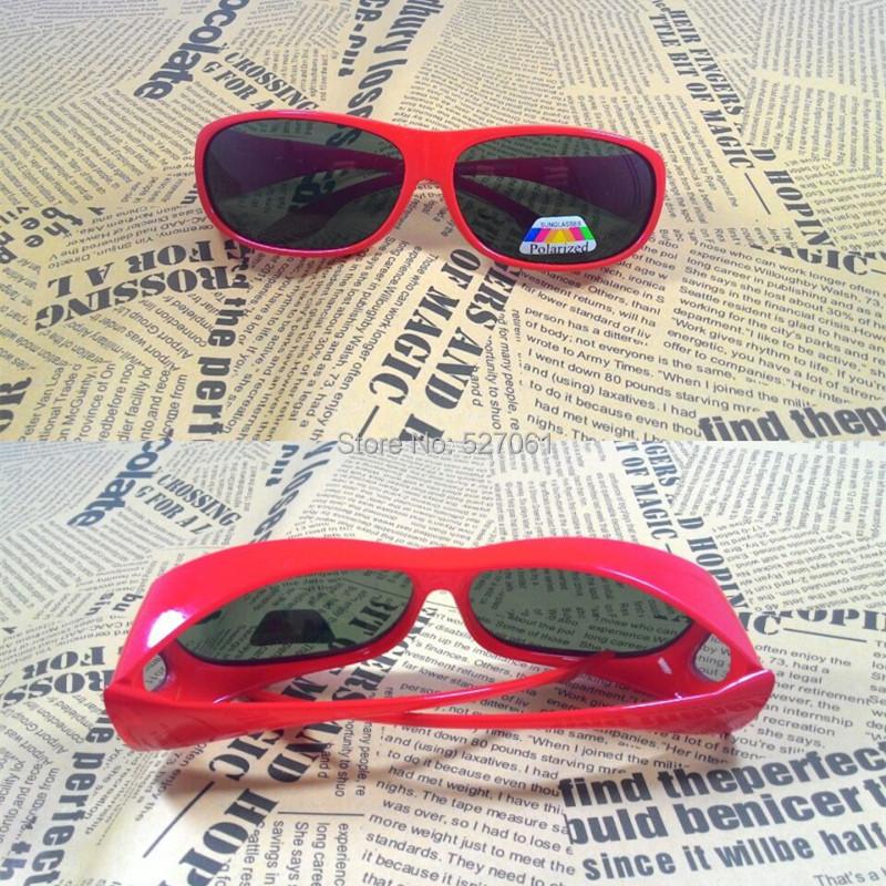 New Polarized Wraparound Running Sunglass Glasses wear fit over Goggle UV400-Red Frame(China (Mainland))