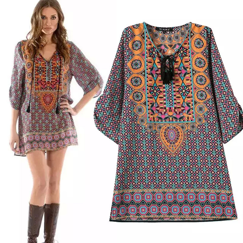 2015 Summer Style Vintage Dress Ethnic Dress Print Retro Dress European And American Summer