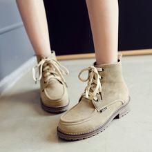 Bayanlar Akın kısa çizmeler Kalın Topuk Moda Bootie Platformu Lace Up Kış Kadın Ayakkabı Siyah Yeşil Sarı Kayısı(China)