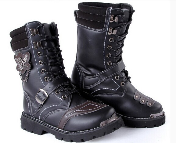 high-top boots winter Korean male buckle lace high army cowboy