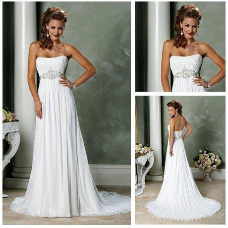 Floor length white chiffon short train cheap romantic for Cheap western wedding dresses