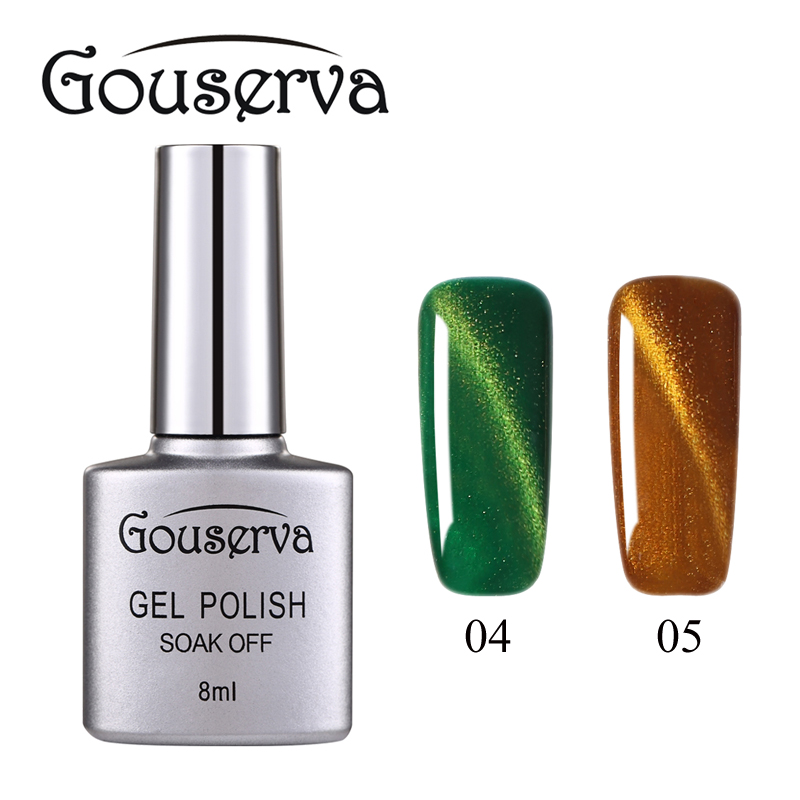 Hot Sale New brand Gouserva gel Lucky 3D Magnetic Cat Eyes Nail Gel Polish 8ml LEd Gel Nail Varnish UV LongLasting Gel Nail Art(China (Mainland))