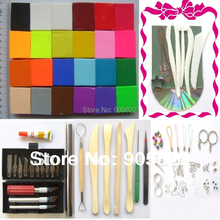 Free Shipping fimo Soft Polymer  Clay Set,24pcs of 24 colors+Free tools Accessorie+Free tutorial,20g per pc clay,total 480g(China (Mainland))