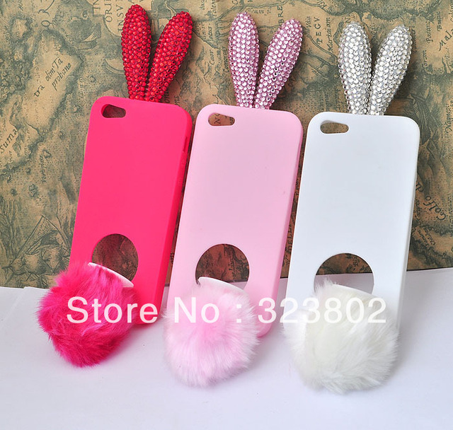Handmade Soft Silicone Shell Case Cover For Apple iPhone 5 with Bunny Rhinestone Ears, Rose Pink And White for Choice