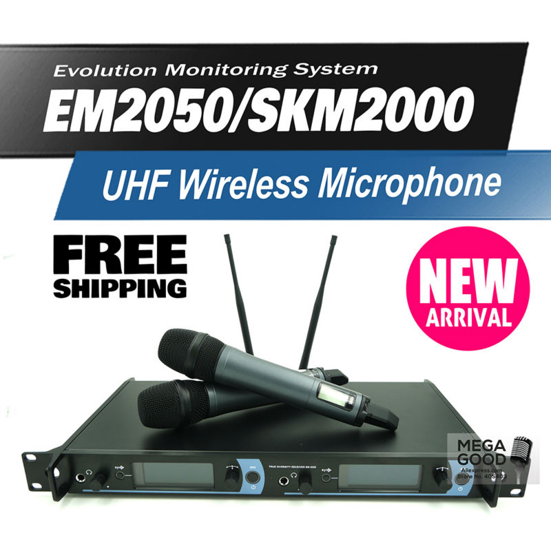 Free shipping! EM2050/SKM2000 Professional UHF Wireless Microphone Monitor System with Dual Handheld Transmitter Microfone Mike(China (Mainland))