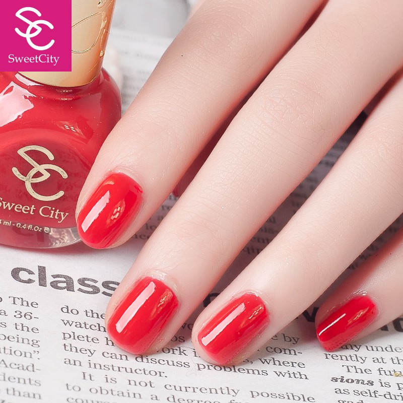 SweetCity Brand High Quality Quick Dry Nail Polish Red Nail Art Tools Bottle 14ml
