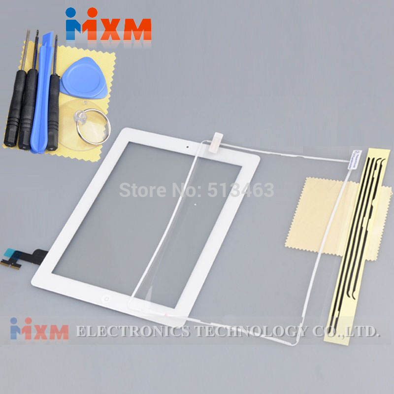 Free Shipping Touch Screen Digitizer Home Button Assembly+Frame For iPad 2 2nd+Tools White