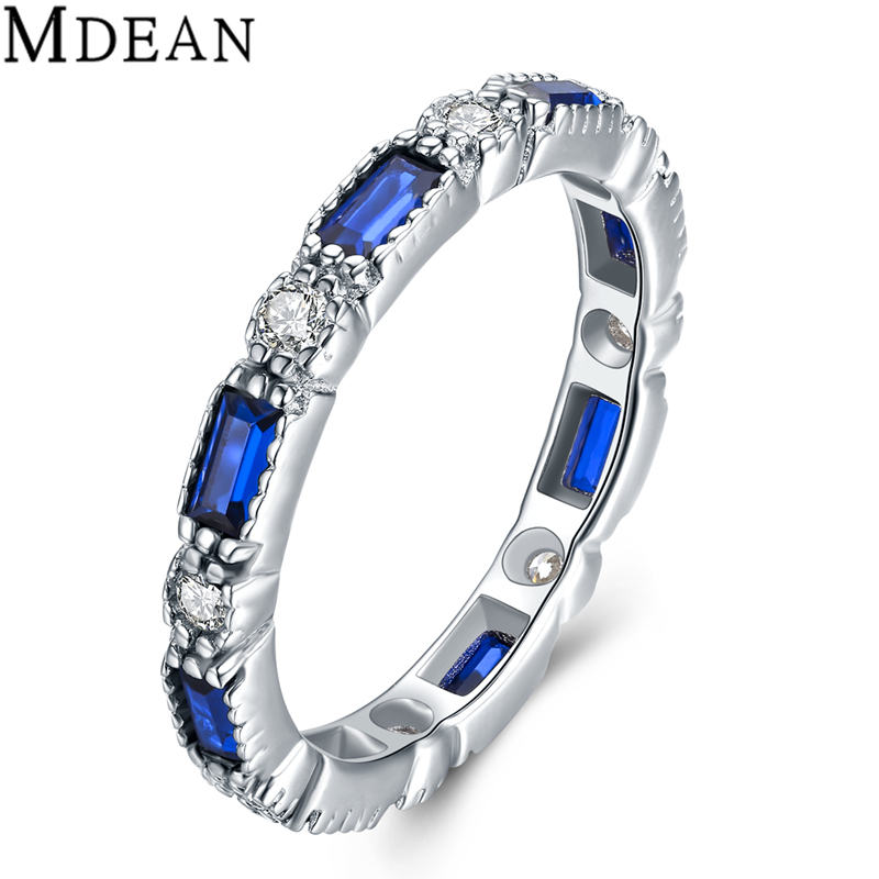 MDEAN 925 Sterling Silver Sapphire Jewelry Rings for Women Genuine Solid Pure CZ Diamond Sterling-Silver-Jewelry Bague MSR469(China (Mainland))