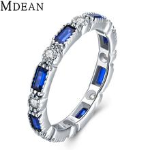 Mdean стерлингового серебра 925 eagagement кольца для женщин подлинная твердых чистый Голубой ААА Циркон Свадьба Bague Размер 6 7 8 MSR469(China (Mainland))