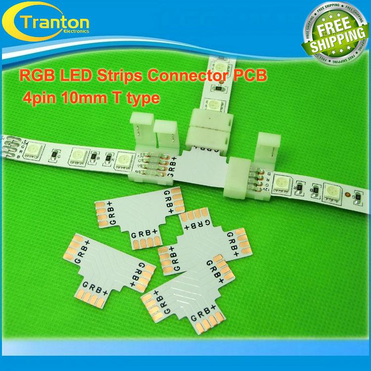 "Гаджет  5pcs/lot LED RGB strip PCB board connector, 10mm 4pin  ""T""  type connector None Свет и освещение"
