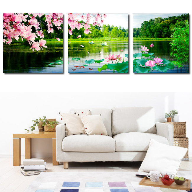 3 Panel Modern Tree Flower Painting Picture Cuadros Landscape Painting Canvas Art Home Decor For Living Room No Frame PR202(China (Mainland))