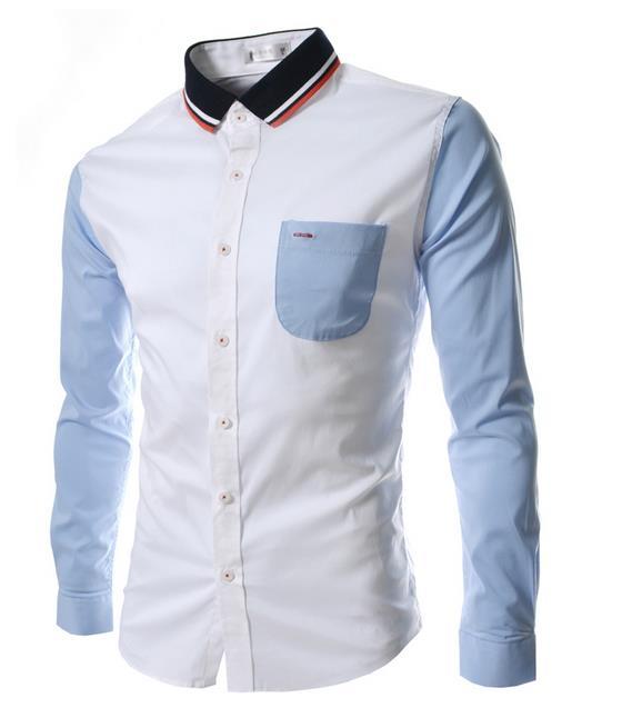 New Fashion Man Shirts Long Sleeve Slim High Quality Men Clothing Spring Summer Casual Patchwork 2