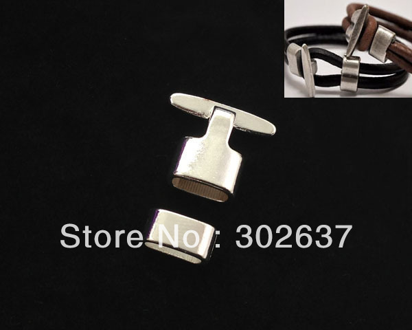 FREE SHIPPING 5 Sets of Silver Plate Hook Clasps for 10x5mm leather A15510SP