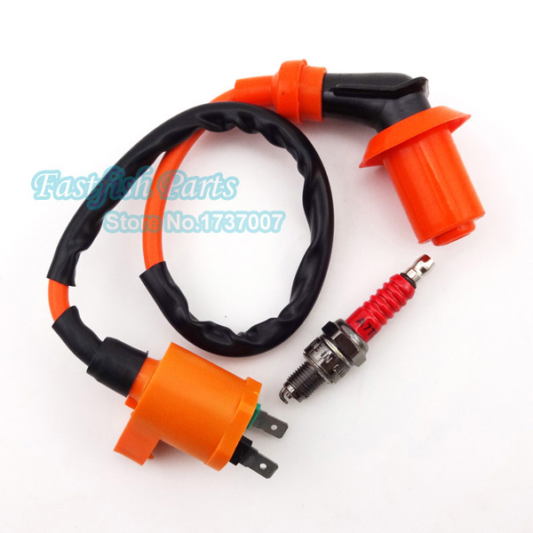 A7TC Spark Plug & Racing Ignition Coil For Chinese GY6 50cc 125cc 150cc Motorcycle Motocross Parts Moped Scooter(China (Mainland))
