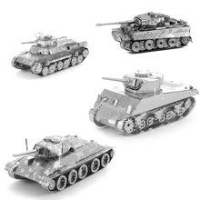 DIY 3D Металлические Головоломки для детей Взрослых Модель Головоломки Металла танк T34 Танк Японии 97 Танк Шерман Танк головоломки образовательных игрушки(China (Mainland))