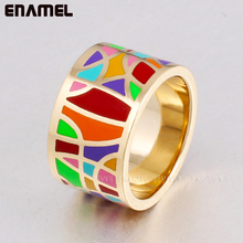 Promotions 18k gold plated rings for men/women vintage style enamel jewelry rings men jewelry ceramic ring long mid finger ring(China (Mainland))