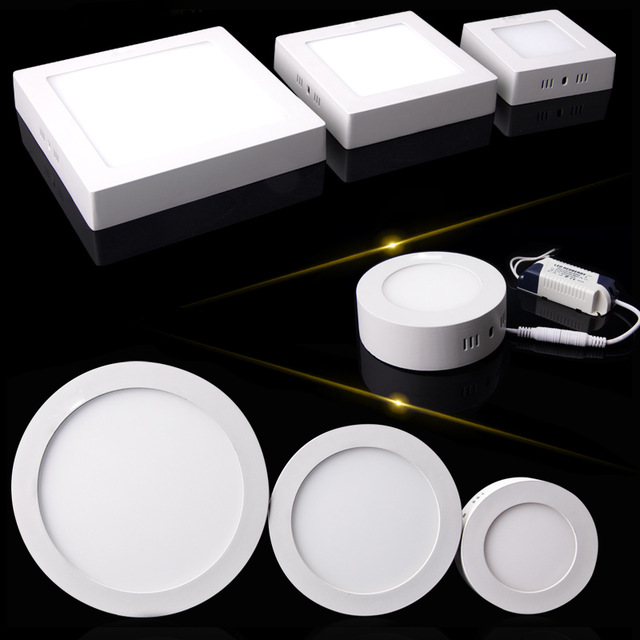 Round LED Ceiling Down light Surface Mounted 6W 12W 18W LED Panel Light Ceiling Lighting with Driver AC85-265V free shipping(China (Mainland))