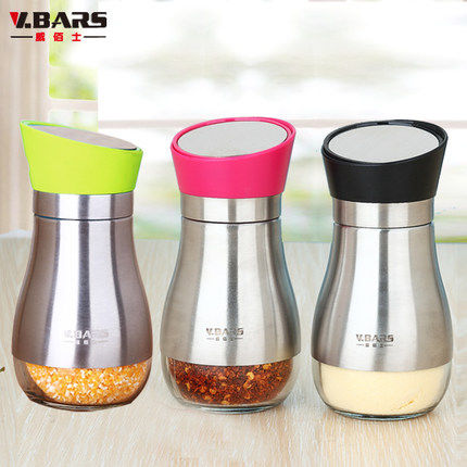 V.BARS 304 set of 3 pcs stainless steel spice shaker Spice Tin Glass pepper bottle salt and pepper shaker sauce pot(China (Mainland))