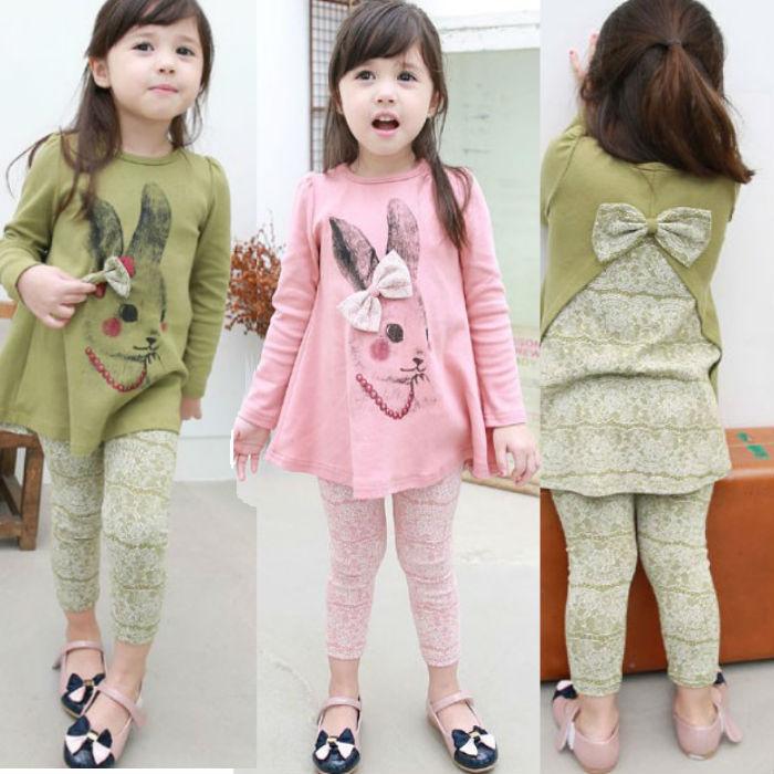 [E-Best] Wholesale Korean Cute Rabbit With Bow T Shirt + Pant Full Sleeve Clothing Suits Kids/Children Set Summer Girl Cartoons <br><br>Aliexpress