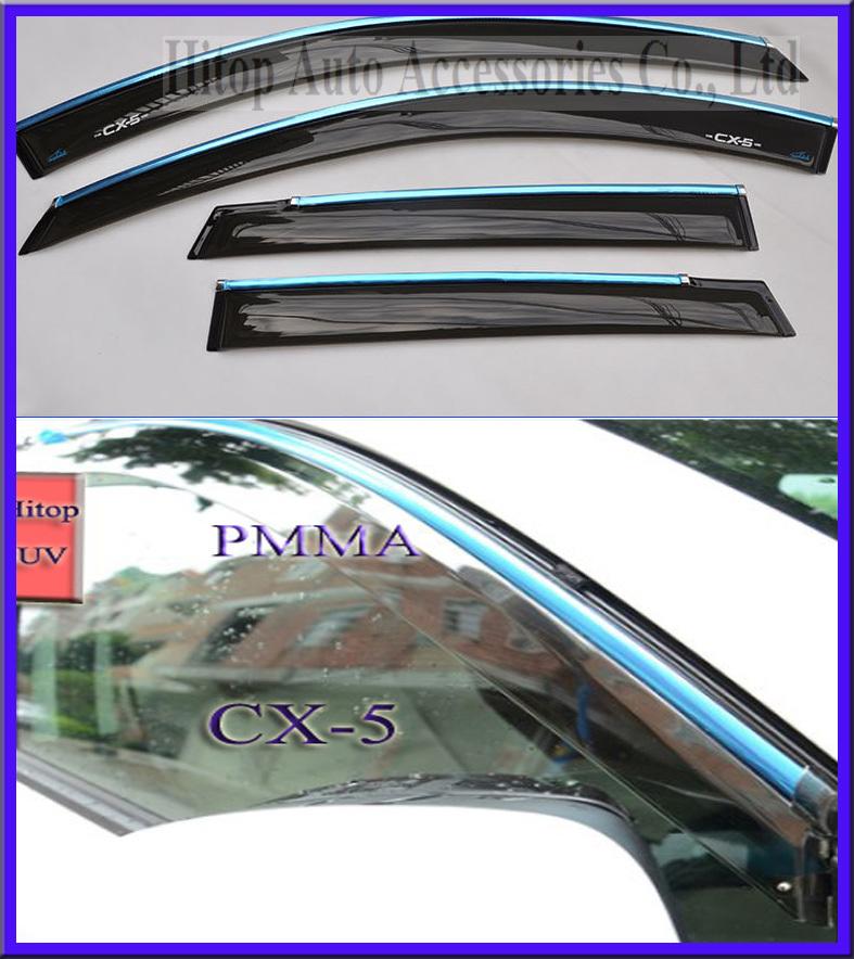 Здесь можно купить  Mazda CX-5 window visor/sun shield/shade/protector/sunvisor, total 4pcs, PMMA material,with chrome strip,2012-2013.  Автомобили и Мотоциклы