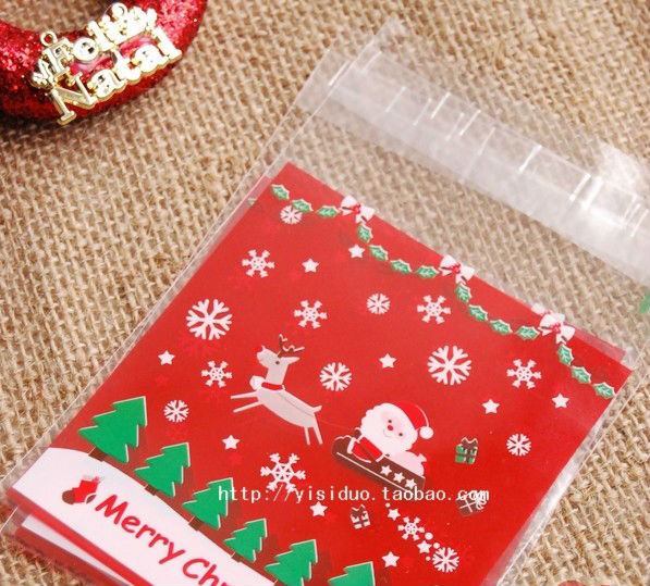 100pcs/lot Plastic Christmas Bags Gift Bag Packaging New Year Christmas Decoration Gift Bags(China (Mainland))