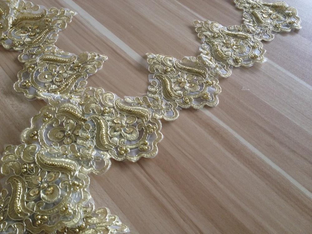 15yard 12cm beaded lace trim gold sequin trim bridal veil for Wedding dress trim beading