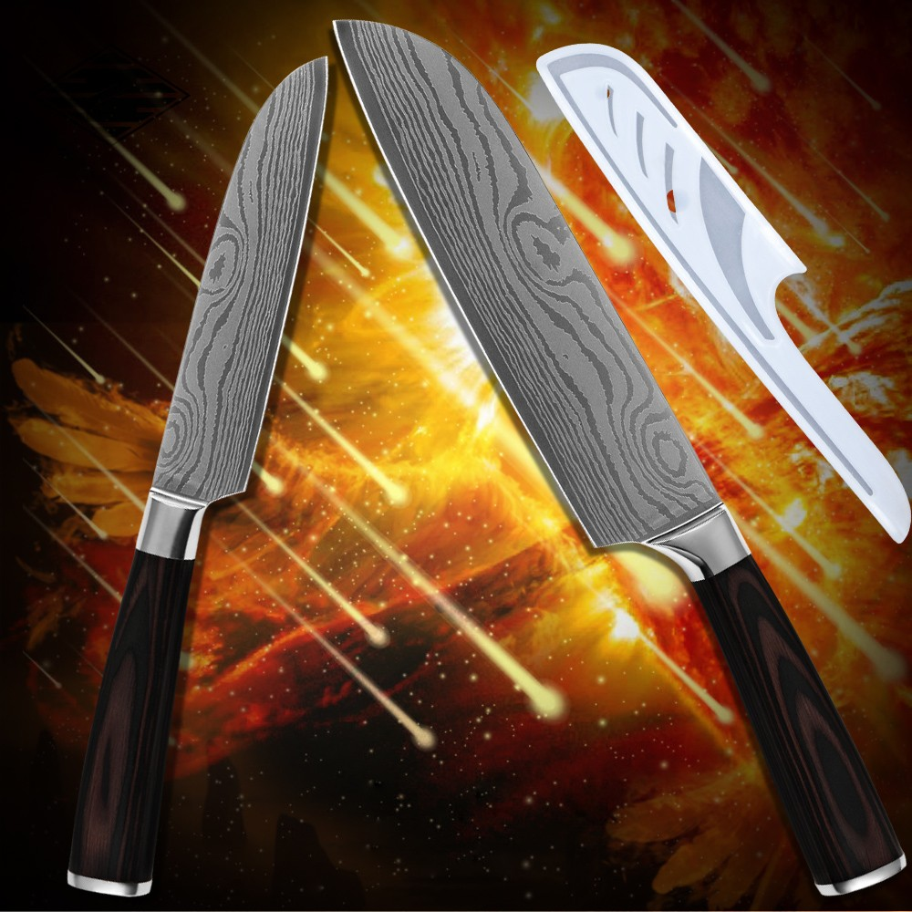 Buy Kitchenware 5 inch 7 inch santoku kitchen knives stainless steel Damascus pattern high toughness cooking tools pakka wood handle cheap
