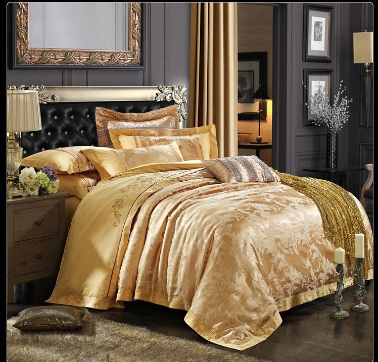 2015 New Luxury Gold Embroidery Satin Silk Jacquard Bedding Set Bedclothes Bed Linen/Sheet Duvet Cover Set Full/Queen/King Size(China (Mainland))