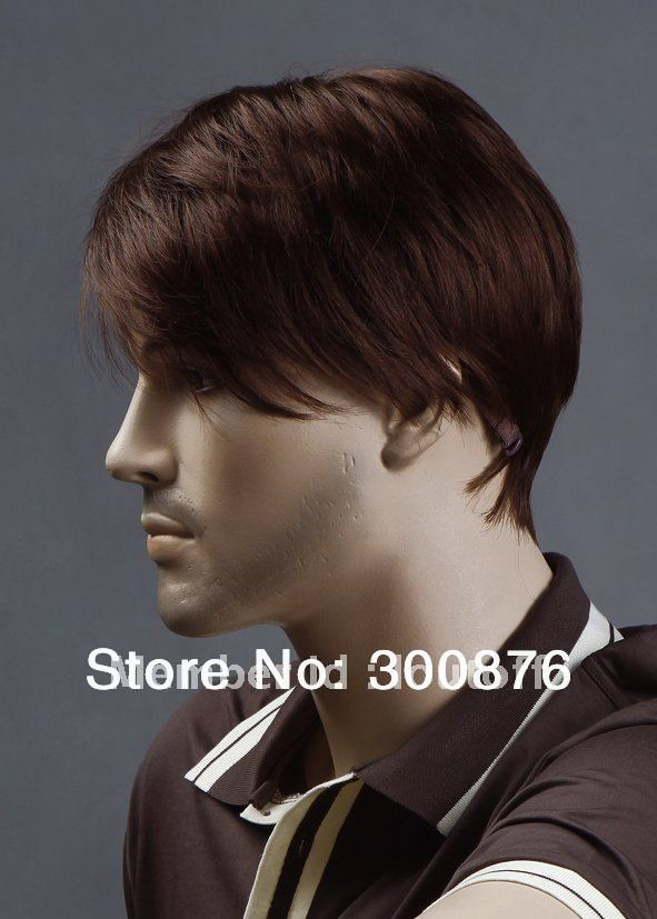 New men s short hair wig Brown red Hair Wig Quick delivery high quality 100 KANEKALON