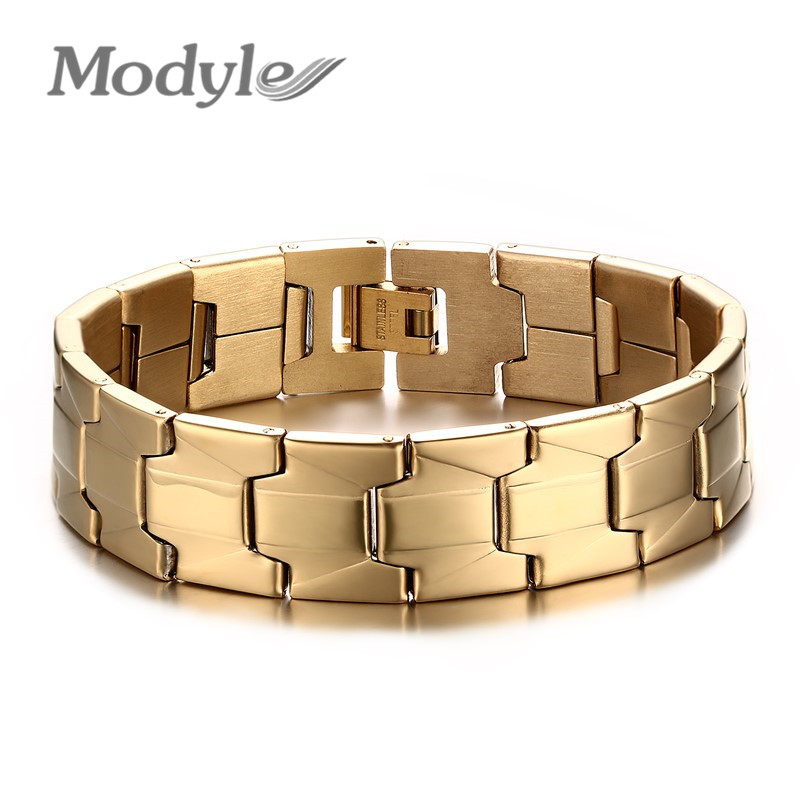Modyle New Men's Bracelets Bangles 18K Gold Plated Fashion Stainless Steel 16MM Wide Punk Style Bracelets Men(China (Mainland))