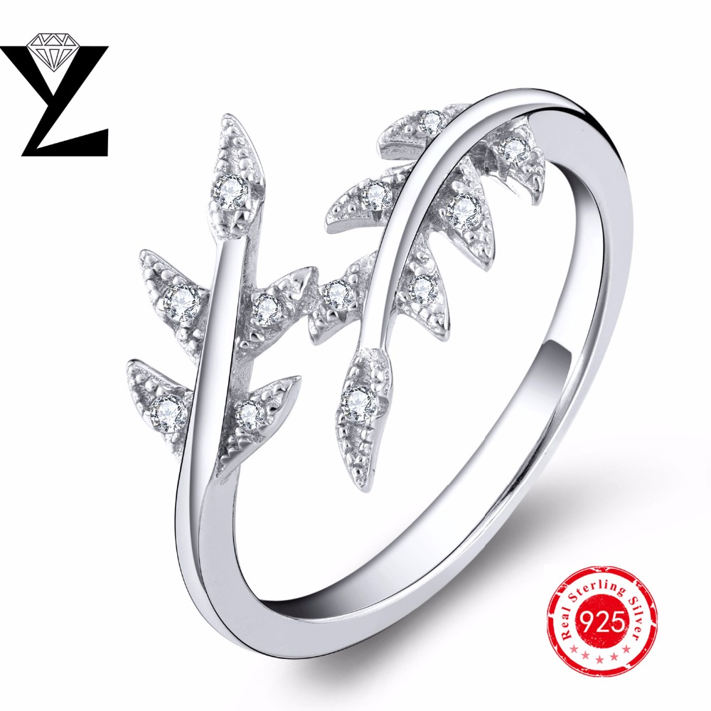 2016 Fashion Pave AAA Clear CZ Leaves Rings Authentic 925 Sterling Silver Leave Rings For Women 2016 Brand Fine Jewelry Making(China (Mainland))