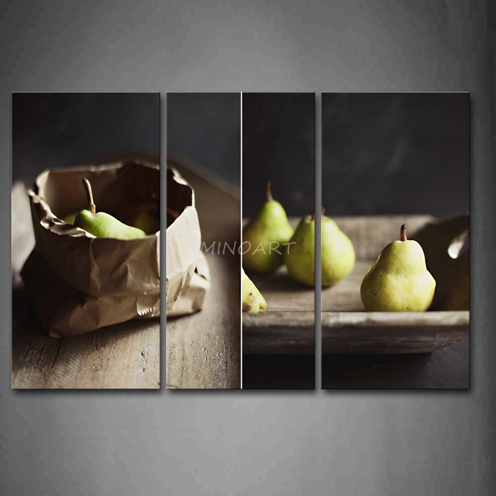 3 piece wall art painting green pear print on canvas the Pear home decor