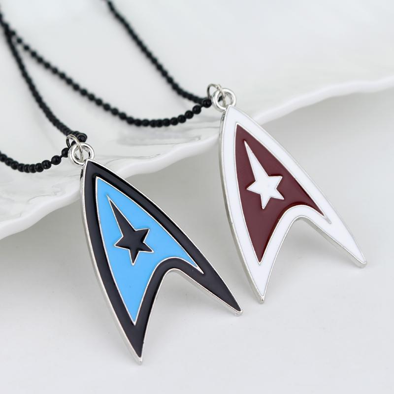 2016 Men's Choker Star Trek Enterprise Command Shield Necklace Communicator Darkness Starfleet Command Enamel Necklace(China (Mainland))